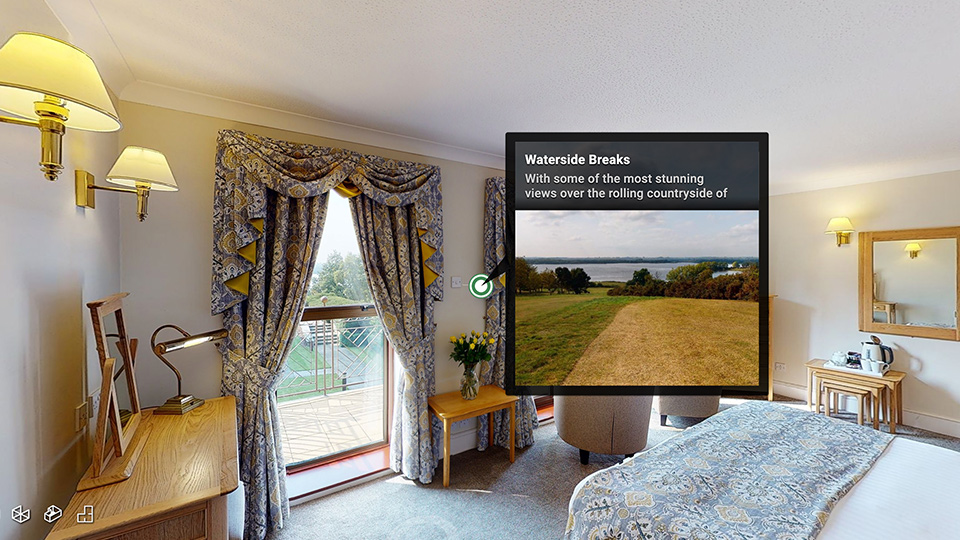 Data-tag containing images in a virtual tour of a holiday let